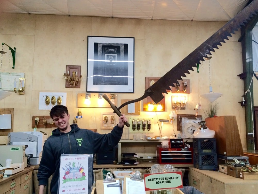 Do you have super human strength OR a super sized tree that needs chopping? This gigantic handsaw will do the job quickly, so you'll still have time to chase solicitors off your stoop.