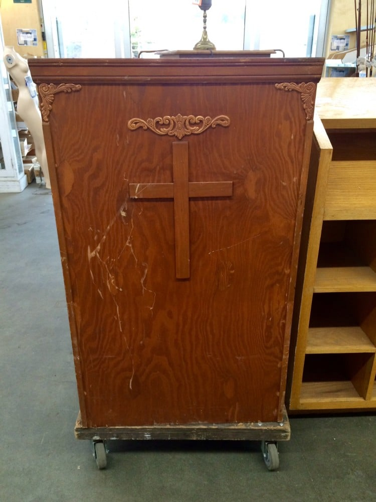 This pulpit comes complete with scratches from the undead. Or something!