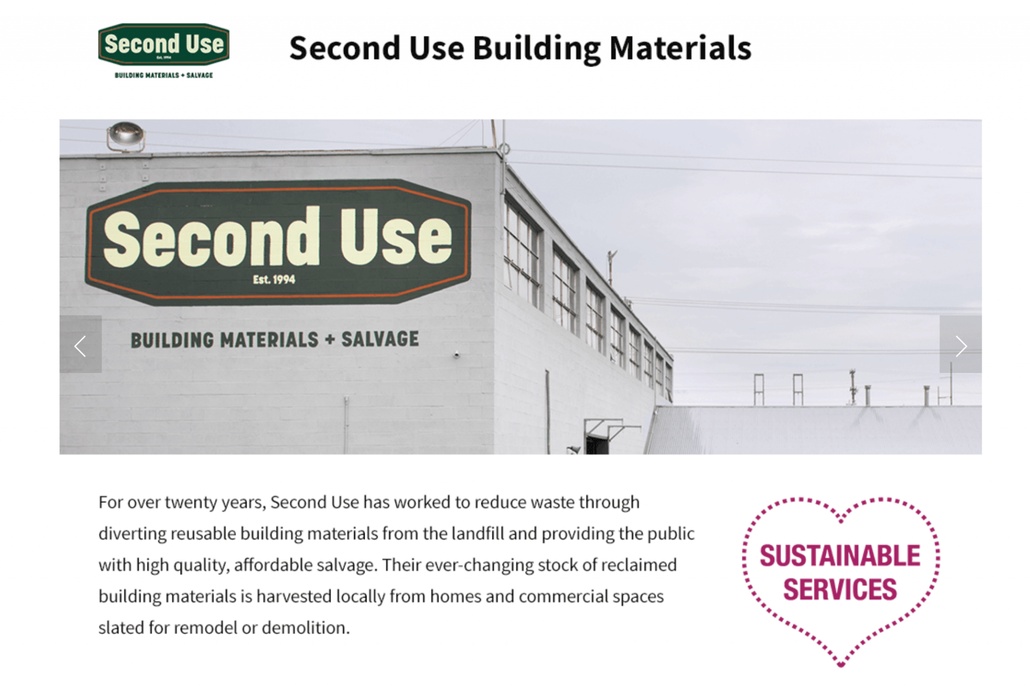 Second Use Seattle >> Vote For Second Use In The Heart Of Seattle Awards Second Use